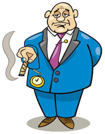 cigar smoke: cartoon rich man Illustration