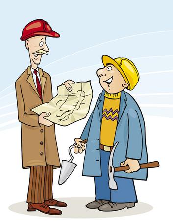 ingeniero caricatura: Ingeniero de construcci�n y generador de hablar sobre el proyecto  Vectores
