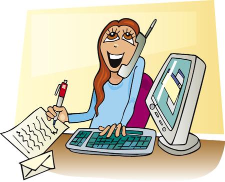 cartoon businesswoman working Vector