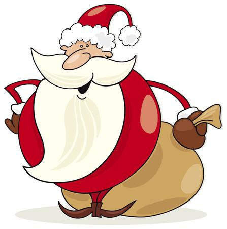 papa noel: Santa claus con saco de regalos