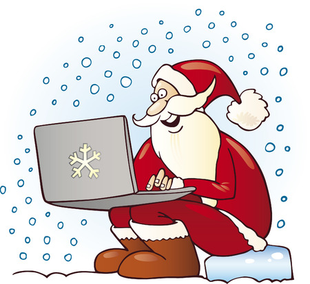 santa claus with laptop Vector