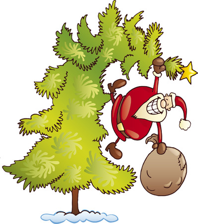 santa claus on christmas tree Illustration