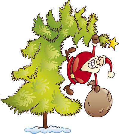 santa claus on christmas tree Illustration
