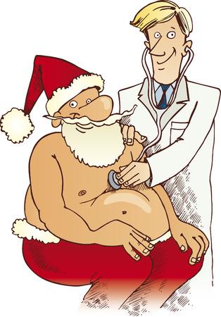 doctors smiling: santa claus at doctor