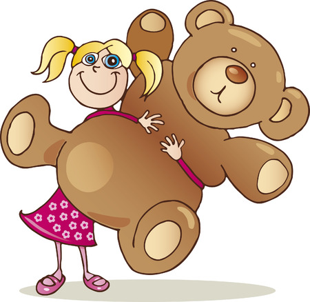 girl with teddy bear Vector