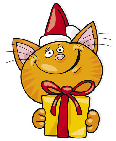 christmas cat with gift Vector