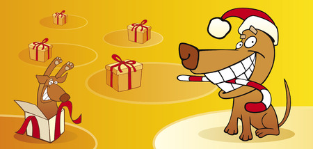 christmas card with dog Vector