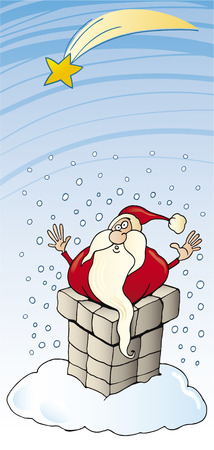 santa claus in chimney christmas card Vector