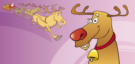 red nose reindeer christmas card Vector