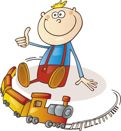 boy and train set
