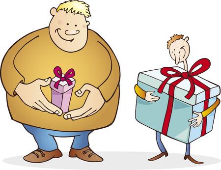 grande e piccolo: grande uomo con un piccolo dono e sottile uomo con enorme presente Vettoriali