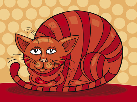 moggie: Red sleepy Cat Illustration