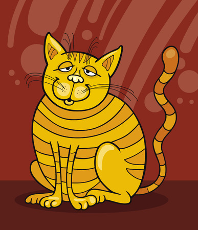 moggie: Yellow Cat smiling Illustration