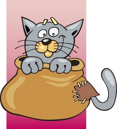 Cat in sack Vector