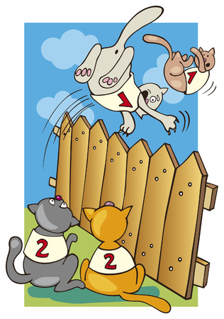 moggie: cats jump over fence