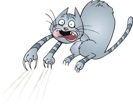 moggie: frightened cat Illustration