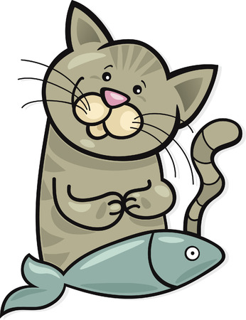 moggy: happy cat with fish Illustration