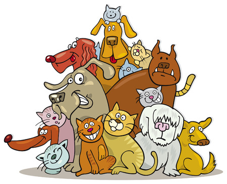 chat dessin: grand groupe de chats et de chiens  Illustration