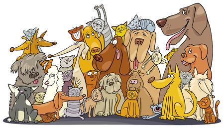 perro caricatura: Grupo enorme de perros y gatos