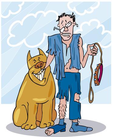 dog leash: bad dog and his battered owner Illustration