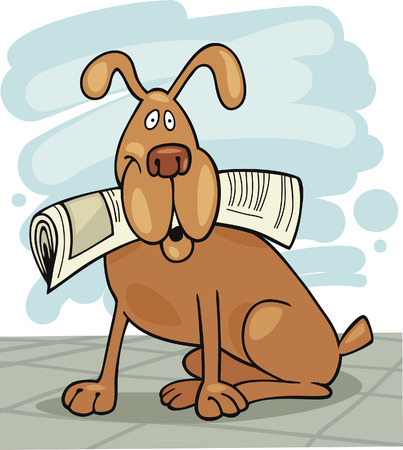 Dog with newspaper Stock Vector - 5839978