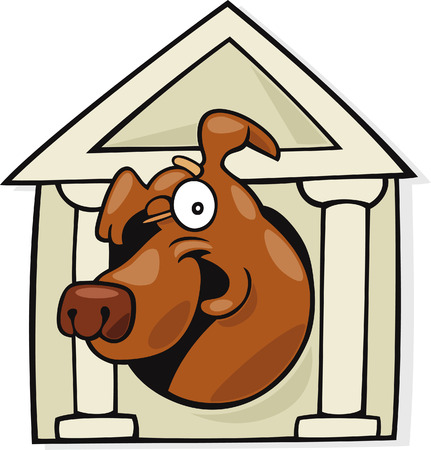 doghouse: dog in classic doghouse Illustration