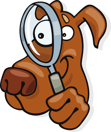 humor glasses: dog with magnifying glass