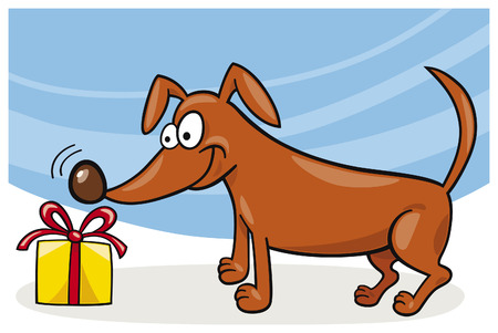 dog and christmas gift Vector