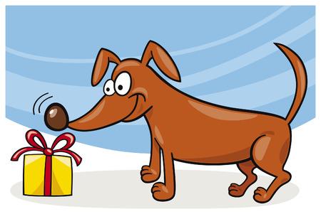 sniff: dog and christmas gift