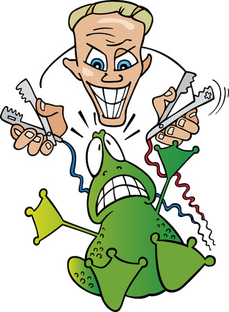 crazy scientist and frightened frog Vector