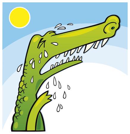 llanto de cocodrilo Ilustración de vector