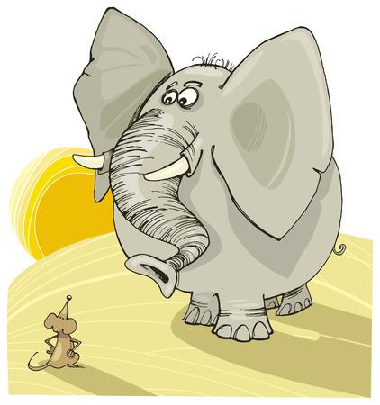 funny image: elephant and mouse Illustration