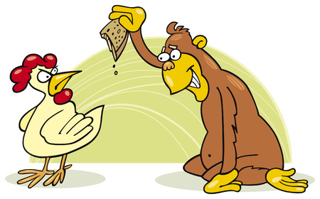 malicious monkey and chicken Vector
