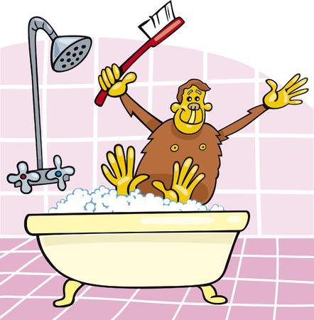 scimmia in bagno