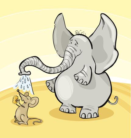 elephant cartoon: Mouse ed Elephant