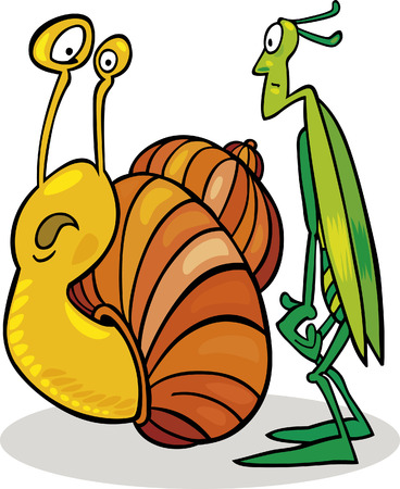 Snail and Grasshopper Stock Vector - 5978871