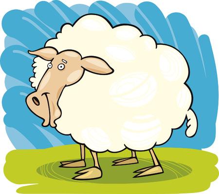 cartoon grass: Farm animals: Sheep Illustration