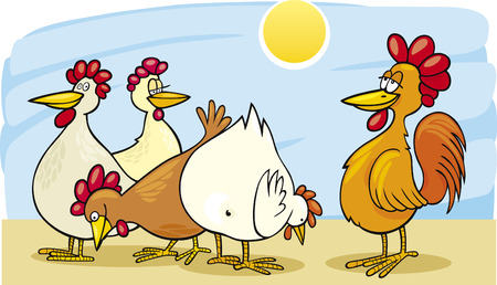rooster and hens Vector