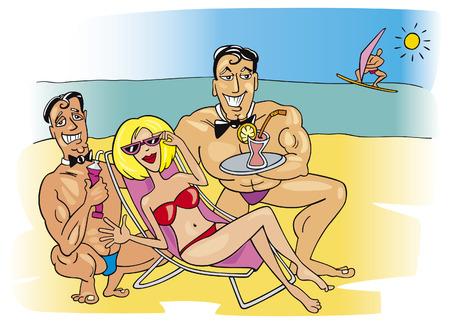 hombre caricatura: mujer de vacaciones de ensue�o  Vectores