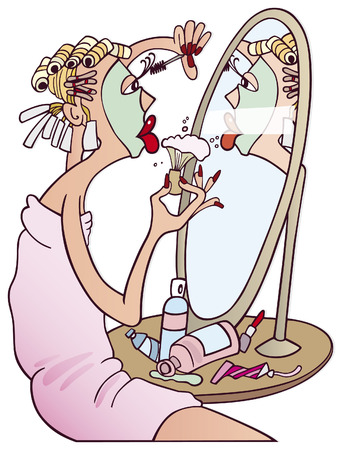 woman in mirror: woman doing makeup