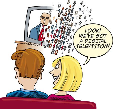 telecast: Couple watching Digital Television Illustration