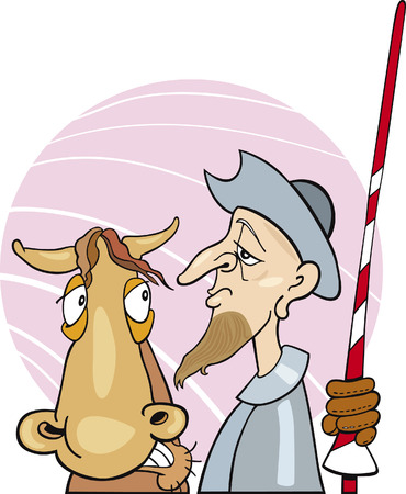 Don Quixote and his horse Stock Vector - 6029837