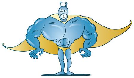 funny blue superhero Vector