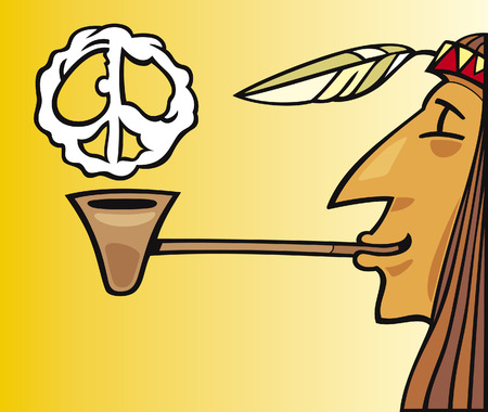 peace pipe: indian smoking pipe of peace