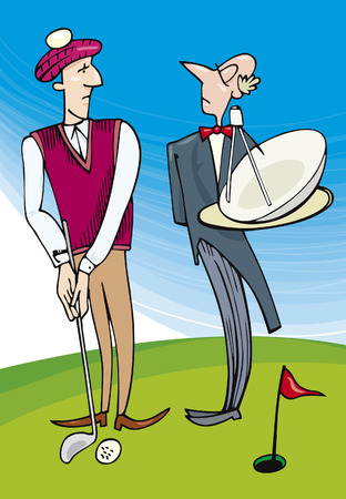 valet: Lord playing golf Illustration