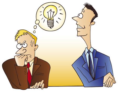 dishonest: man steal an idea Illustration