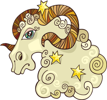 rams horns: zodiac aries sign Illustration