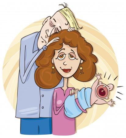 Joven pareja con bebé  Ilustración de vector