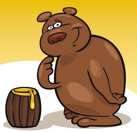 cartoon illustration of funny bear and barrel of honey Vector