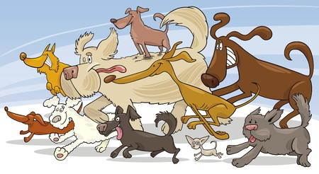 cartoon chihuahua: running dogs